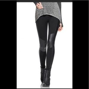 CABI Riding Pant, knit leggings with faux leather